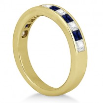 Channel Blue Sapphire & Diamond Wedding Ring 18k Yellow Gold (0.70ct)