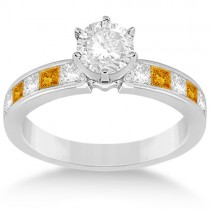 Channel Citrine & Diamond Engagement Ring 18k White Gold (0.60ct)