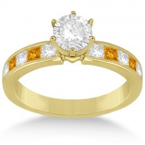 Channel Citrine & Diamond Engagement Ring 18k Yellow Gold (0.60ct)