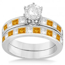 Channel Citrine & Diamond Bridal Set 18k White Gold (1.30ct)