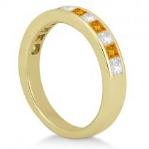 Channel Citrine & Diamond Bridal Set 18k Yellow Gold (1.30ct)