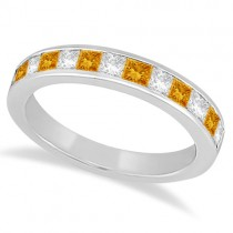 Channel Citrine & Diamond Wedding Ring 14k White Gold (0.70ct)