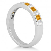 Channel Citrine & Diamond Wedding Ring 18k White Gold (0.70ct)