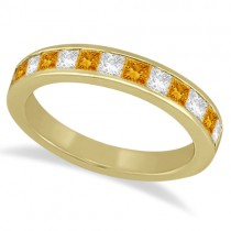 Channel Citrine & Diamond Wedding Ring 18k Yellow Gold (0.70ct)