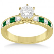 Channel Emerald & Diamond Engagement Ring 18k Yellow Gold (0.50ct)