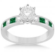 Channel Emerald & Diamond Bridal Set 14k White Gold (1.10ct)