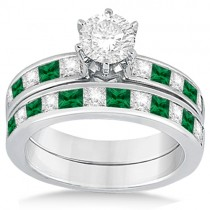 Channel Emerald & Diamond Bridal Set 18k White Gold (1.10ct)