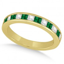 Channel Emerald & Diamond Wedding Ring 14k Yellow Gold (0.60ct)