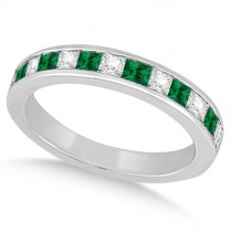 Channel Emerald & Diamond Wedding Ring 18k White Gold (0.60ct)