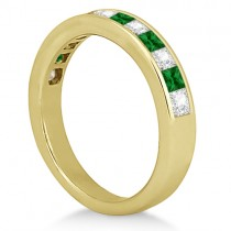 Channel Emerald & Diamond Wedding Ring 18k Yellow Gold (0.60ct)