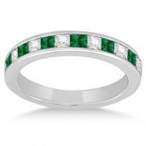 Channel Emerald & Diamond Wedding Ring Platinum (0.60ct)