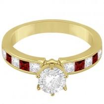 Channel Garnet & Diamond Engagement Ring 14k Yellow Gold (0.60ct)