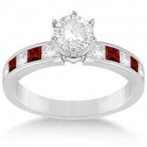 Channel Garnet & Diamond Engagement Ring 18k White Gold (0.60ct)