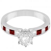 Channel Garnet & Diamond Engagement Ring 18k White Gold (0.60ct)