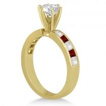 Channel Garnet & Diamond Engagement Ring 18k Yellow Gold (0.60ct)
