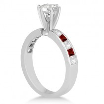 Channel Garnet & Diamond Engagement Ring Palladium (0.60ct)