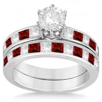 Channel Garnet & Diamond Bridal Set Palladium (1.30ct)