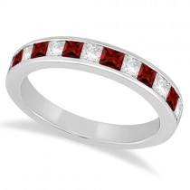Channel Garnet & Diamond Wedding Ring 14k White Gold (0.70ct)