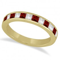 Channel Garnet & Diamond Wedding Ring 14k Yellow Gold (0.70ct)