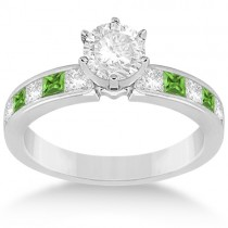 Channel Peridot & Diamond Engagement Ring 14k White Gold (0.60ct)