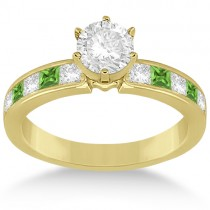 Channel Peridot & Diamond Engagement Ring 14k Yellow Gold (0.60ct)