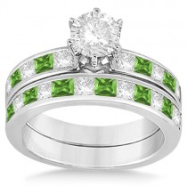 Channel Peridot & Diamond Bridal Set 14k White Gold (1.30ct)