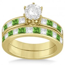 Channel Peridot & Diamond Bridal Set 14k Yellow Gold (1.30ct)