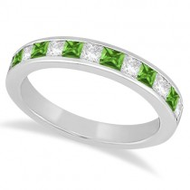 Channel Peridot & Diamond Wedding Ring 14k White Gold (0.70ct)
