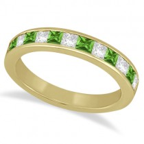 Channel Peridot & Diamond Wedding Ring 18k Yellow Gold (0.70ct)