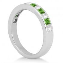 Channel Peridot & Diamond Wedding Ring Platinum (0.70ct)|escape