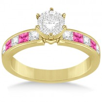 Channel Pink Sapphire & Diamond Engagement Ring 18k Yellow Gold (0.60ct)