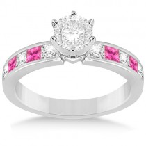 Channel Pink Sapphire & Diamond Engagement Ring Platinum (0.60ct)
