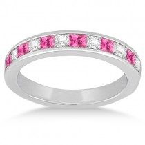 Channel Pink Sapphire & Diamond Bridal Set 14k White Gold (1.30ct)