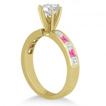 Channel Pink Sapphire & Diamond Bridal Set 18k Yellow Gold (1.30ct)
