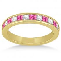 Channel Pink Sapphire & Diamond Wedding Ring 18k Yellow Gold (0.70ct)