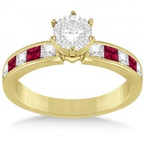 Channel Ruby & Diamond Engagement Ring 14k Yellow Gold (0.60ct)