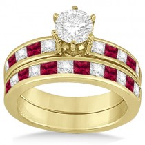 Channel Ruby & Diamond Bridal Set 14k Yellow Gold (1.30ct)