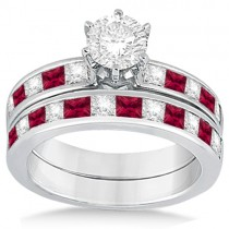 Channel Ruby & Diamond Bridal Set 18k White Gold (1.30ct)