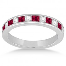 Channel Ruby & Diamond Wedding Ring 14k White Gold (0.70ct)