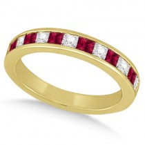 Channel Ruby & Diamond Wedding Ring 14k Yellow Gold (0.70ct)