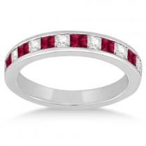 Channel Ruby & Diamond Wedding Ring Platinum (0.70ct)