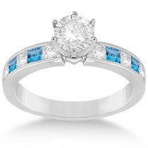 Channel Blue Topaz & Diamond Engagement Ring 14k White Gold (0.60ct)