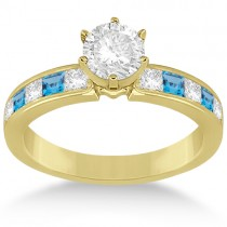 Channel Blue Topaz & Diamond Engagement Ring 14k Yellow Gold (0.60ct)
