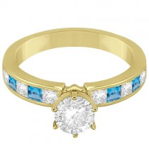 Channel Blue Topaz & Diamond Engagement Ring 18k Yellow Gold (0.60ct)