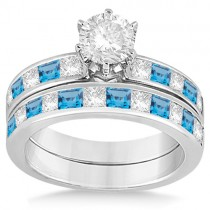 Channel Blue Topaz & Diamond Bridal Set 14k White Gold (1.30ct)