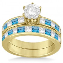 Channel Blue Topaz & Diamond Bridal Set 14k Yellow Gold (1.30ct)