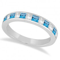 Channel Blue Topaz & Diamond Wedding Ring 14k White Gold (0.70ct)
