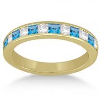 Channel Blue Topaz & Diamond Wedding Ring 14k Yellow Gold (0.70ct)
