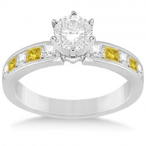 Princess White & Yellow Diamond Engagement Ring 18K White Gold 0.50ct