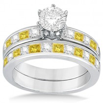Princess Cut White & Yellow Diamond Bridal Set 18K White Gold (1.10ct)